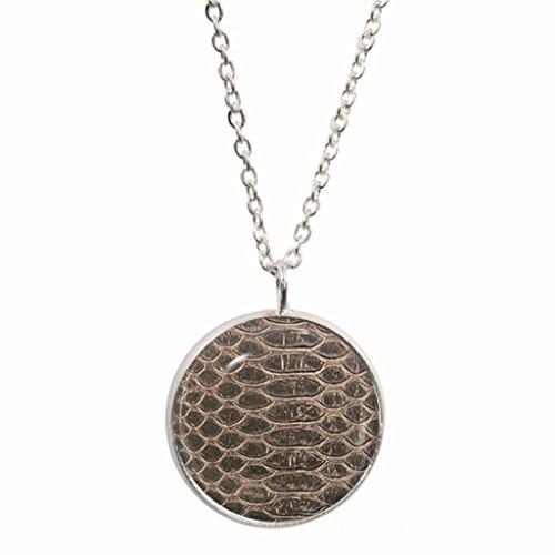 Krokodil Haut Design Anhänger mit Silber vergoldet Halskette in Geschenkbox -