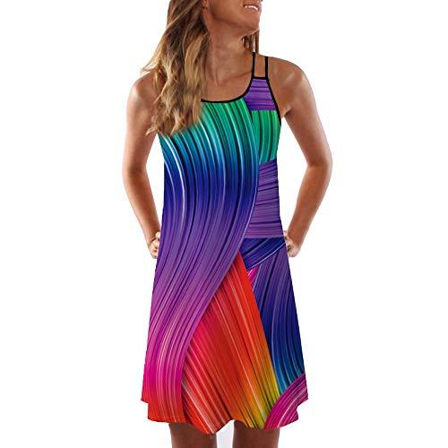 Price comparison product image Women Dress,  Staresen Women Sling Rainbow Vest Dress Maiden Beach Holiday Breathable Mini Dress Maiden Summer Vintage Sleeveless 3D Floral Print Bohe Tank Short Mini Dress