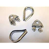 2 x 10 mm 3/8 pulgadas cuerda de alambre abrazaderas y dedales fuerte cable de acero corbata U pernos cuerda cadena alambre completo