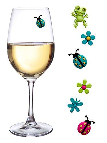 Weinglas-Charms Magnetischer Drink Marker Set of 6Fun Sommer Cocktail zur fossilienbestimmung mit Marienkäfer Frosch und Blume Wein Charms Red Margarita-set