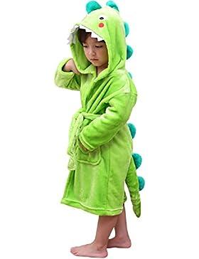 DREAMOWL Albornoz de felpa con capucha para niños - Dinosaur Flannel Fleece Robe para niños