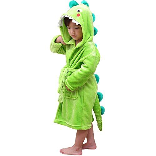 LOLANTA Albornoz de Felpa con Capucha para niños - Dinosaur Flannel Fleece Robe para niños (6-8 años)