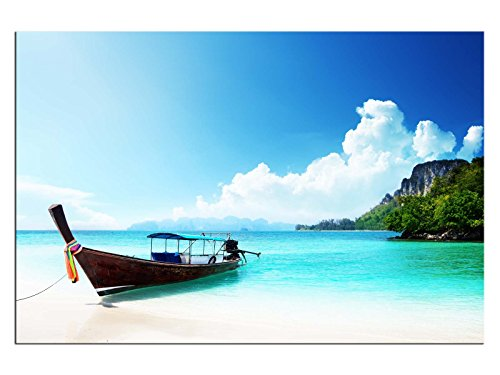 Longboat Thailand! Leinwand Bilder! Wandbild! Kunst Druck! Keilrahmen A05753 Größe 120 x 80 cm