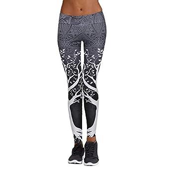 LEvifun Pantalons De Yoga Coutures Mode Femmes Leggings Taille Haute Élastique Imprimé 3D Longue Yoga Course Running Fitness Sports Pantalons Trousers Pants pour Femmes