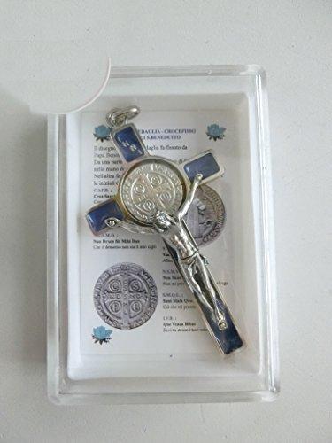 10.005.11 blu croce di san benedetto economica con scatola e preghiera in italiano