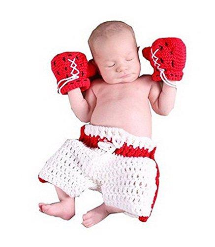 AKAAYUKO Fotozubehör Für Baby/Kleinkinder Handgefertigt Häkelware Fotografie Kostüm (Boxer)