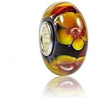 MATERIA{925} argento con perline in vetro di Murano - vetro pendente GIRASOLE GIALLO per Beads braccialetto #481