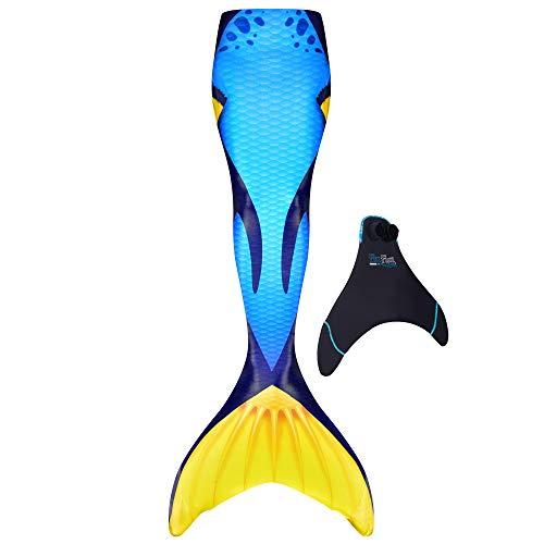 Fin Fun Fin Fun Mermaid Tail, verstärkte Enden, mit Monoflosse, Blue Tang, Jugendliche U.S. Größe 06