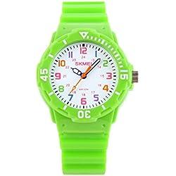 Sencee Fashion Cute niños niñas estudiantes muñeca relojes Casual relojes de pulsera Relojes Cuarzo Impermeable reloj verde