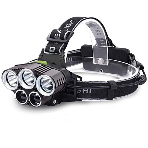 MUTANG Multi-Funktions-LED im Freien starke Scheinwerfer, 15000 Lumen Fixfokus Long-Range-Stirnlampe fünf Lichter super helle Nacht Angeln Lichter Bergmanns Lampe für Camping, Running, Wandern, Angeln