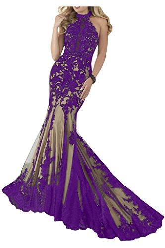 Sunvary Romantisch Neu 2014 Spitze Mermaid Traeger Abendkleid Ballkleider Violett