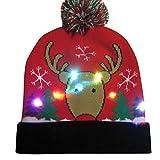 Ears Männer Frau Damen Weihnachtsmütze Weihnachtsmann Elch Drucken Geweih\nSüß Mütze Stricken Beleuchten Bunte Lichter Festlicher Hut Faser Fischermütze\n Weihnachtsmann Elch Drucken Geweih