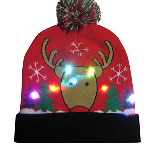 (Ears Männer Frau Damen Weihnachtsmütze Weihnachtsmann Elch Drucken Geweih\nSüß Mütze Stricken Beleuchten Bunte Lichter Festlicher Hut Faser Fischermütze\n Weihnachtsmann Elch Drucken Geweih)