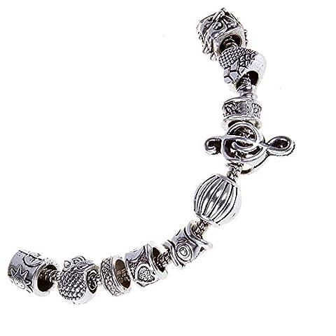 Rubyca Beaucoup de 100pcs Mix Couleur argent tibétain Spacer Perle pour bracelet charms européens