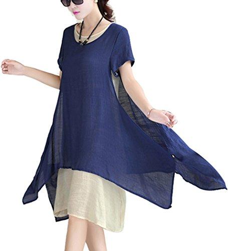 BININBOX Damen Locker Baumwolle & Leinen Kleid Kurzarm Round Kragen Doppel Layered Kleid Sommer Knielang Blau