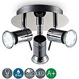 Lámpara de techo con focos giratorios y orientable incl. 3x3W LED bombillas GU10, 230V