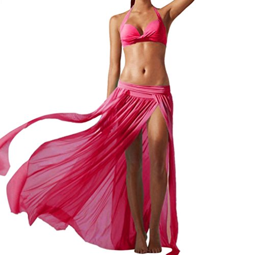 Ba Zha Hei röcke Frauen Stretch Mesh Gaze Strand Röcke Korean Women Chiffon Boho Plissee Retro Maxi Langer Rock-Elastischen Bund Tanz-Kleid Fashion Womens Sommer Gefaltete Röcke (Pink, Freie Größe) -
