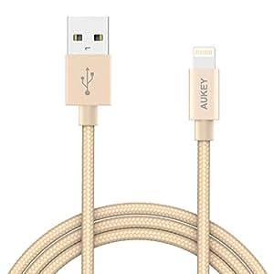 AUKEY Caricatore iPhone [ Apple MFi Certificato ] 1.2m Nylon Intrecciato Cavo iPhone per iPhone7/7Plus /SE/6s /6splus / 6/6Plus/5/5c ( Dorato )