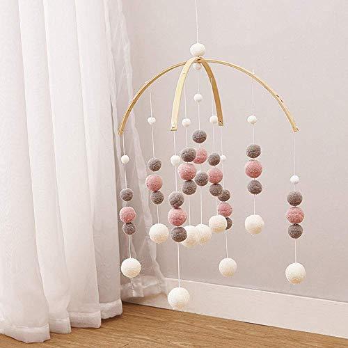 Windspiele Dee niedlichen Anhänger Foto Requisiten Kinderzimmer Filz Ball Handwerk hängen Ornament Home Decor Kindergarten Mobile Geschenk(Rosa weiß grau)