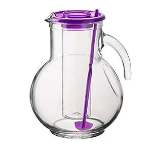 2litres Pichet en verre avec insert pour cubes de glace lilas couvercle