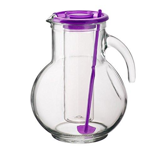 2litros jarra de cristal con inserto para cubitos de hielo Lila Tapa