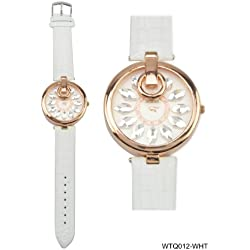 Rose Gold Coloured Bezel Round Shaped White Face Ladies Watch with White Strap