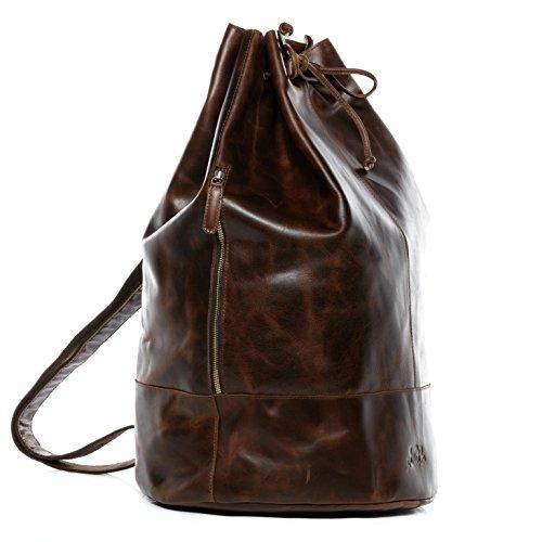Scotch & Vain saccodamarinaio HEATHROW - borsa da viaggio - borsone vera pelle marroncina (34 x 56 x 34 cm)