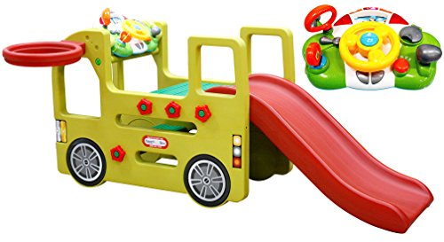platz Bus mit Rutsche und abnehmbaren Spielpanel und Basketballkorb, 152x 83x72 cm, Mehrfarbig (Kleinkind-outdoor-schaukel Und Rutsche)