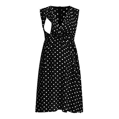 Liusdh Kleid für Damen Schwangerschaft kleider V-Ansatz sleeveless dünnes Normallackknielanges Mutterschaftskleid-Punkt-Druck-Krankenpflege-Stillen-Kleid(Black,XL) Apricot Sleeveless