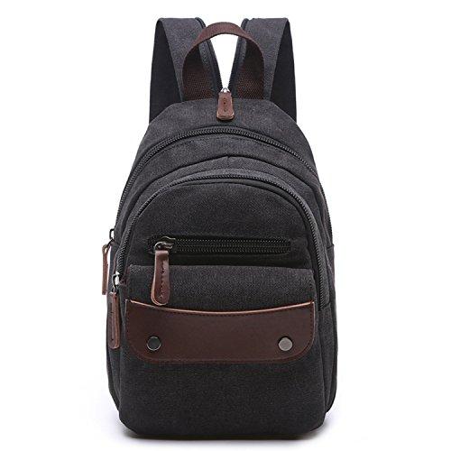 Outreo Rucksäcke Damen Backpack Vintage Rucksack Klein Freitag Tasche Designer Schöne Schultaschen Mädchen Daypack für Sport Bag Schwarz