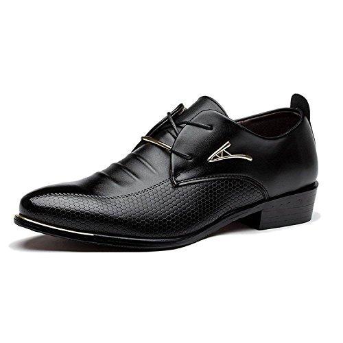 Wildleder Lace Schuhe (Minetom Herren Britisch Stil Gummisohle Stiefel Business Schuhe Leder Lace-up Spitzschuh Hochzeit Geschäfts Kleid Oxfords Schnürhalbschuhe Schwarz EU 42)