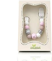 Little Sprouts | Porta Chupetes Moderno | 2 en 1 Cadena de Chupete de Bebé con Cuentas de Dentición | Sin BPA