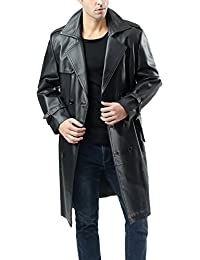 Leather Hubb Number Seven Herren Schwarz ledermantel Lange trench   Mantel  N7 1467a4325c
