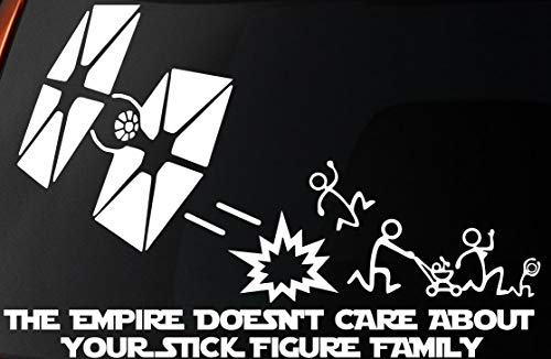 Vinyl Decal - Star Wars Inspired 'The Empire Doesnt Care About Your Stick Figure Family Tie Fighter - Car, Window, Wall, Laptop Sticker by Level 33 Ltd