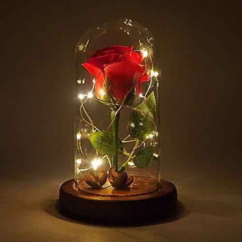 Características: tamaño: 15 x 10 x 10 cm; Número de LEDs: 10, Longitud de la luz de la correa: 1 m; Color de la luz: blanco cálido; Material: seda, cúpula de hierba, base de madera; Conector de alimentación: USB. Regalo perfecto: la rosa es un símbol...