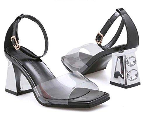 Beauqueen Pumps CASUAL PARTY SANDALS Sommer Mädchen Frauen Transparente Obere Knöchelriemen Low Heel Einfache Comfortbale Schuhe Europa Standard Größe 34-39 Black