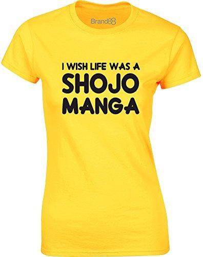 Brand88 - I Wish Life Was a Shojo Manga, Gedruckt Frauen T-Shirt Gänseblümchen-Gelb/Schwarz
