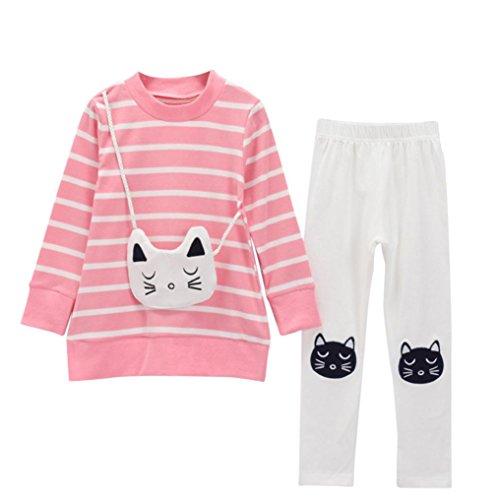 JERFER 2pcs Gestreifte Comic-Katze Outfit Set Herbst Frühling Bekleidungsset nette Baby Kind Kleidung Langarm Shirt Tops Bluse + Hose Leggings für 4-8 Jähriges Mädchen (Rosa, 7T)