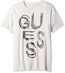 GUESS Mens Text Crew Neck T-Shirt, Sweet Grey, L