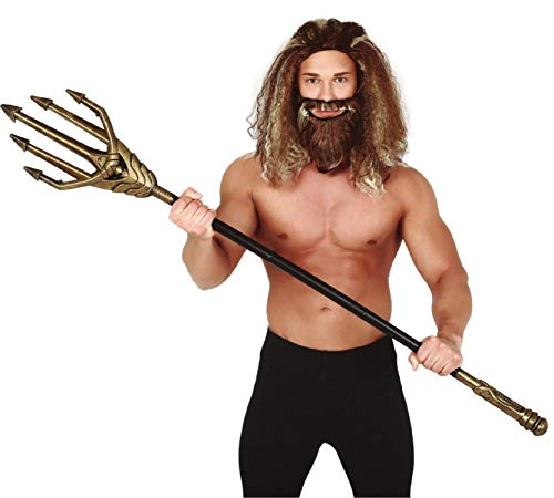 Großer 145cm Gold Trident Sea Hero Halloween TV-Buch Film Fancy Dress Zubehör - Comic Buch Fancy Dress Kostüm