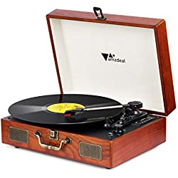 Amzdeal Tocadiscos Bluetooth Vintage para Vinyl Record 3 Velocidad con Dos Altavoces Estéreo Dobles Turn Drive Tocadiscos con Auriculares, RAC, Grabación de Tarjeta USB SD con una Aguja de Reemplazo