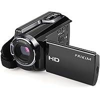 PRIKIM Videocamera FULL HD 1080P 24.0MP Fotocamera Digitale Zoom Ottico 16X con 3.0'' Schermo LCD, Supporta Controllo Remoto Visione Notturna e Rotazione di 270° Ultra Grandangolare