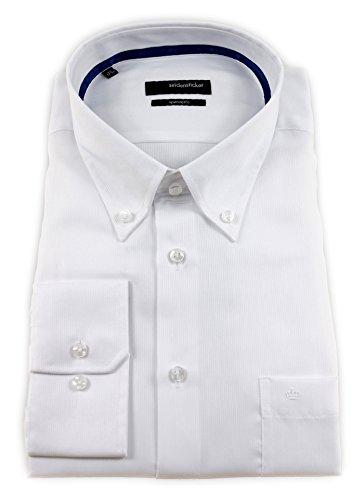 Seidensticker Herren Langarm Hemd Splendesto Regular Fit Button-Down-Kragen BD Tape weiß strukturiert 110702.01 (45, Weiß)