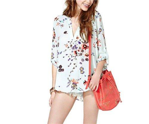 QIYUN.Z Mode V-Ausschnitt Floral Langarm Chiffon Beiläufige Lose Oberseiten-Blusen Shirt Blumen-