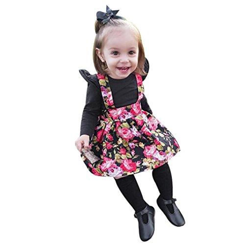 Kleinkind Babykleidung Neugeborenes Junge MädchenStrampler Tops + Floral Tutu Party Prinzessin Kleid Set Lange Ärmel Tops Baumwolle Kleider Beiläufig Outfit Kleider Set LMMVP (Schwarz, 80 (6M)) (Velour Dot Pant)
