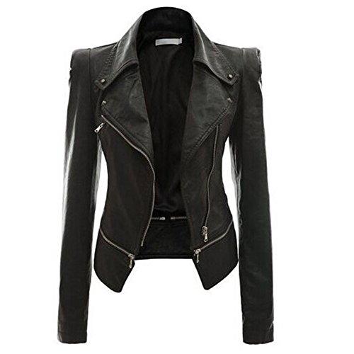 Jacke Mantel PU Leder Reißverschluss Vintage Slim Motorcycle Herbst Winter Damen Schwarz (Kostüme Leder Jacke)