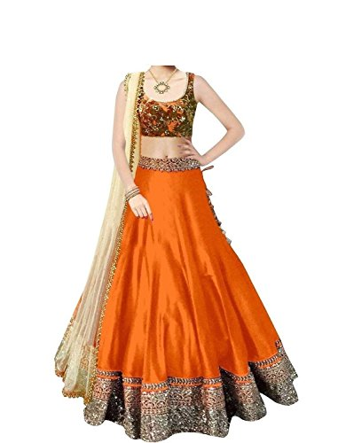 Varona Creation Women's Banglory Silk Unstitched Orange Lengha Choli (VC09_Orange colour _Free...