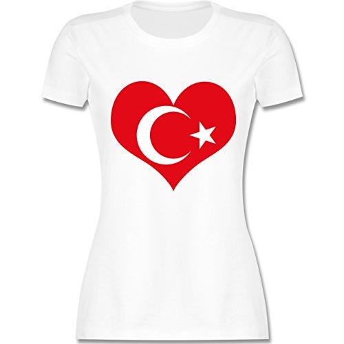 Länder - Türkei Herz - tailliertes Premium T-Shirt mit Rundhalsausschnitt für Damen Weiß