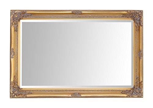Specchio Select - Specchio a parete grande Rhone - Vintage francese - Stile barocco rococò - Legno massello - Finitura a mano - Oro antico - 60 cm x 90 cm