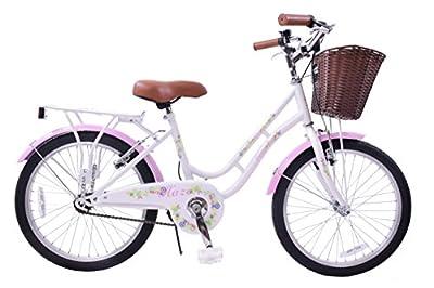"Ammaco Haze Traditional 20"" Wheel Girls Bike Basket 13"" Frame Classic Dutch Shopper Style Heritage White / Pink Age 7+"